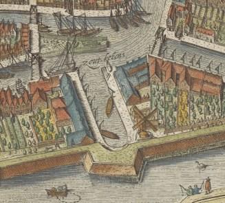 Keetkolk en omgeving op de kaart van Drebbel uit 1597. Molen de Wolf op de stadswal bij de Keetkolk was toen nog een houten standerdmolen.