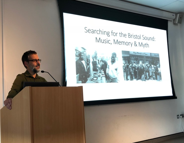 Dr Rehan Hyder delivering his talk on Bristol Sound at MShed