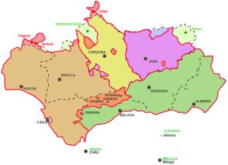 Transformación de los Reinos de Sevilla, Córdoba, Jaén y Granada en provincias. Nótese como los límites de Beturia bailan constantemente durante todas las épocas de la historia