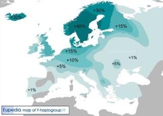 """Haplogrupo I1, propio de los nórdicos y germánicos, presente en la Península Ibérica a través de las invasiones de los llamados """"pueblos bárbaros"""" y de los vikingos"""
