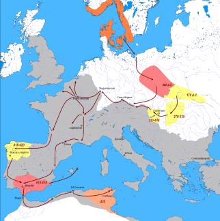 La llegada de los vándalos, asdingos en el noroeste peninsular y silingos en el sur