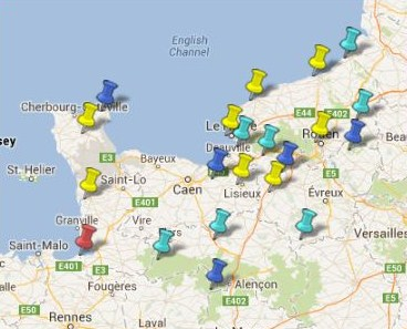 Carte des villes et villages class s en normandie - Les plus beaux villages de normandie ...