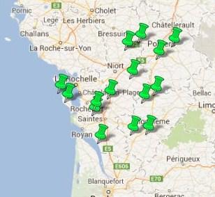 Carte des Jardins Remarquables en Poitou Charentes