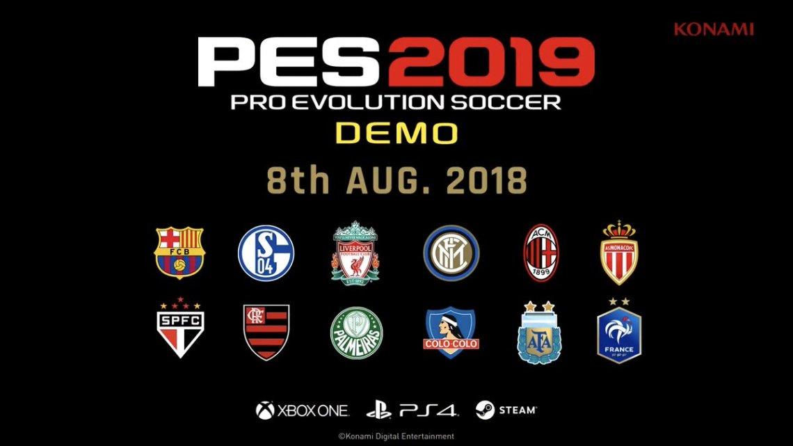Confirmada la fecha de estreno para la demo de PES 2019 | Revelada la lista de equipos disponibles