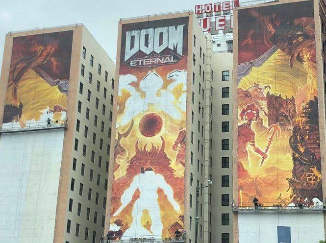 Finalizado el espectacular mural de DOOM Eternal