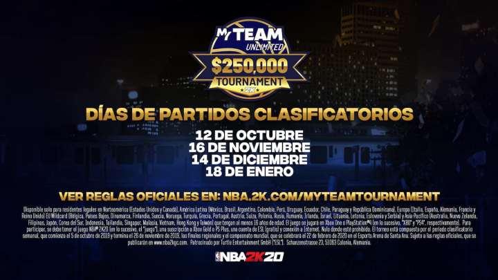 2K anuncia los detalles del torneo del modo Ilimitado de MiEQUIPO de NBA 2K20 con premio de 250 000 dólares