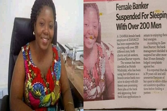 """Image result for Zambian female banker suspended for allegedly sleeping with over 200 men"""""""