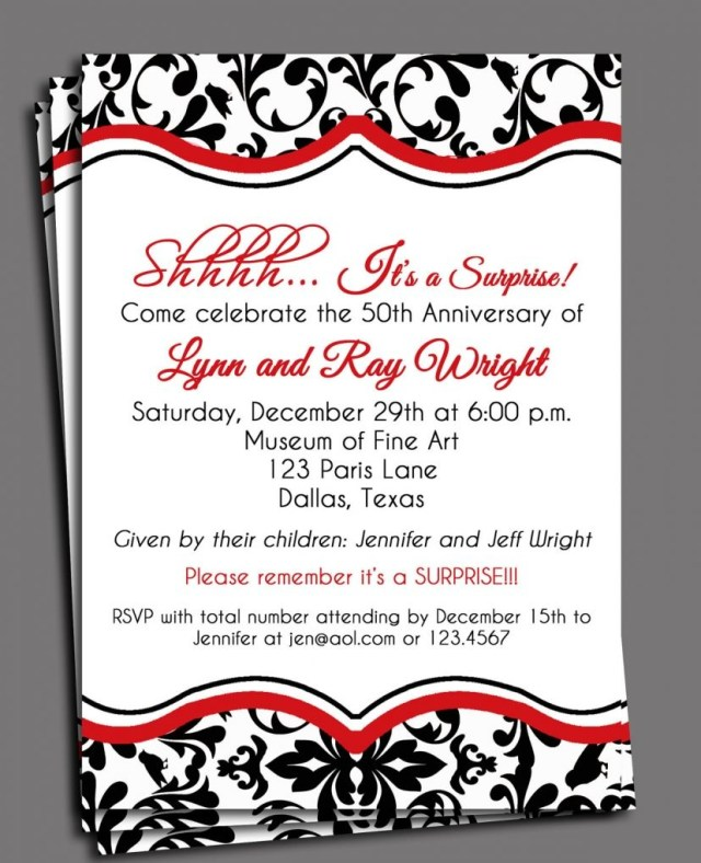 40Th Wedding Anniversary Invitations Black Damask Invitation Printable Or Printed With Free Shipping