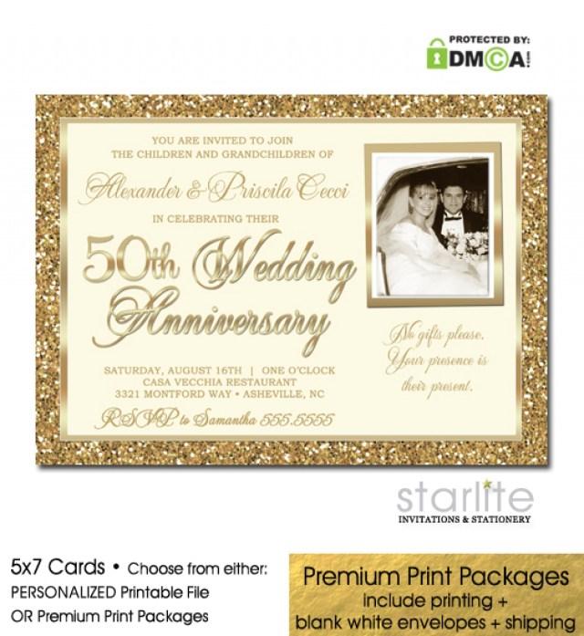 50Th Wedding Anniversary Invitations Gold Glitter 50th Wedding Anniversary Photo Invitation Ba Shower