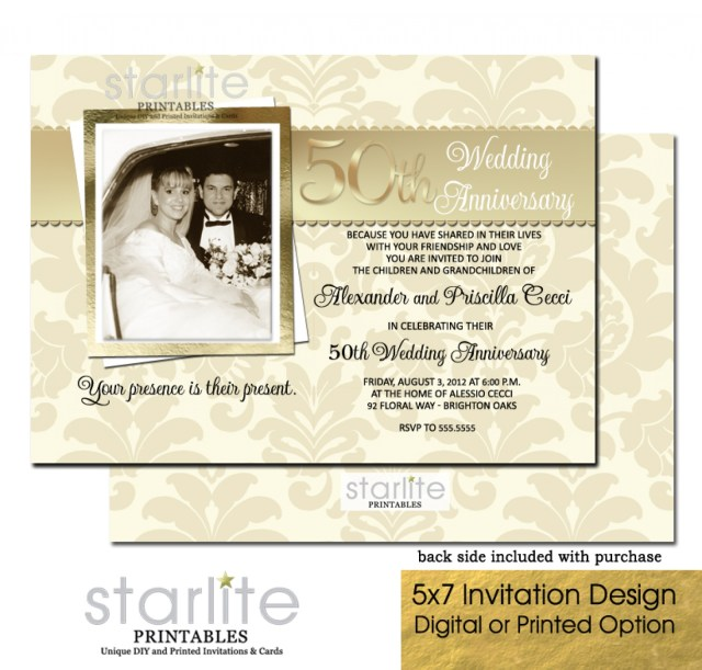 50Th Wedding Anniversary Invitations Golden 50th Wedding Anniversary Invitation 50th Anniversary Photo