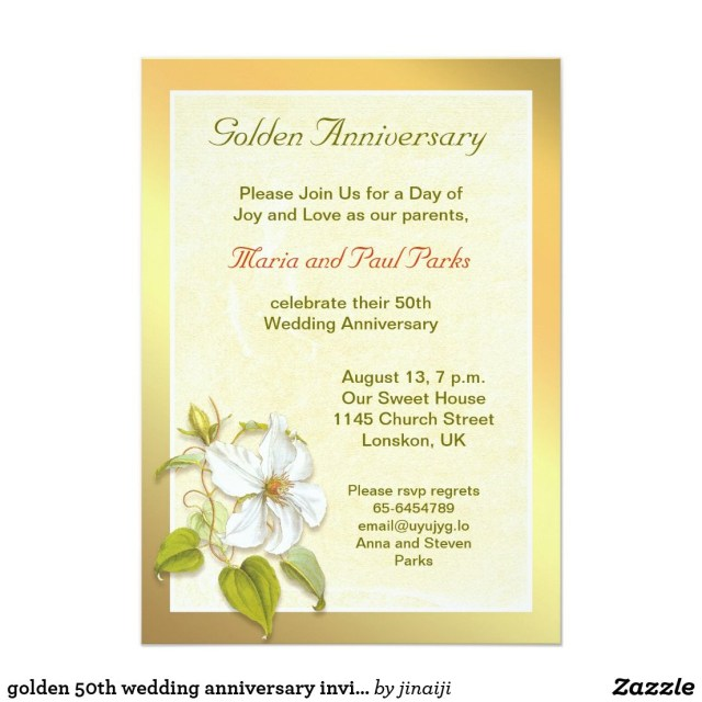 50Th Wedding Anniversary Invitations Golden 50th Wedding Anniversary Invitation In 2018 Anniversary