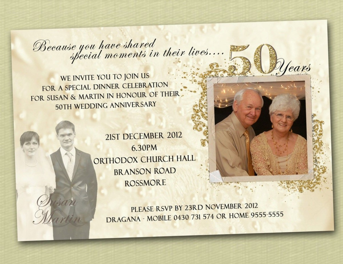 50Th Wedding Invitations Golden Letters On White Or Cream 50th Wedding Anniversary