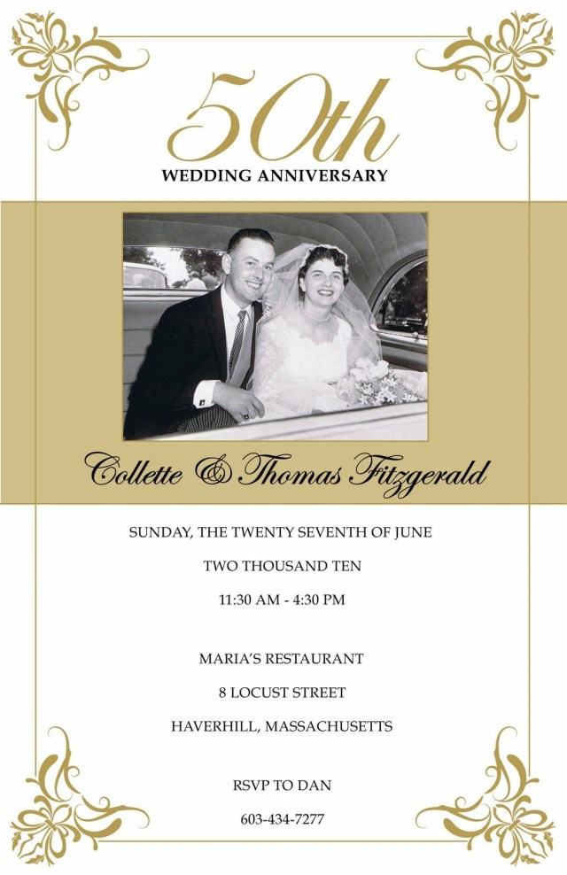 50Th Wedding Invitations Photo Gallery Of The 50th Wedding Anniversary Party Ideas To