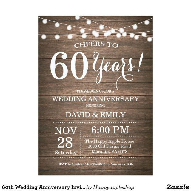 60Th Wedding Anniversary Invitations 60th Wedding Anniversary Invitation Rustic Wood Wedding