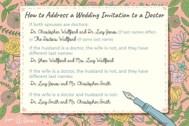 Addressing Wedding Invitations Proper Etiquette For Addressing A Wedding Invitation To A Doctor