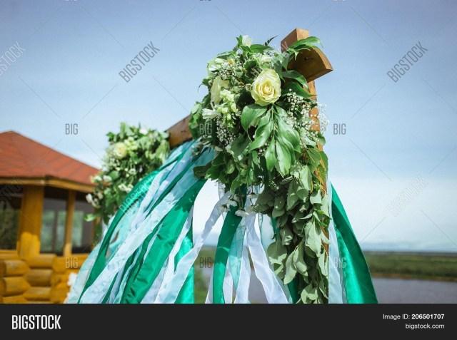 Alter Decorations Wedding Happy Outdoor Wedding Image Photo Free Trial Bigstock
