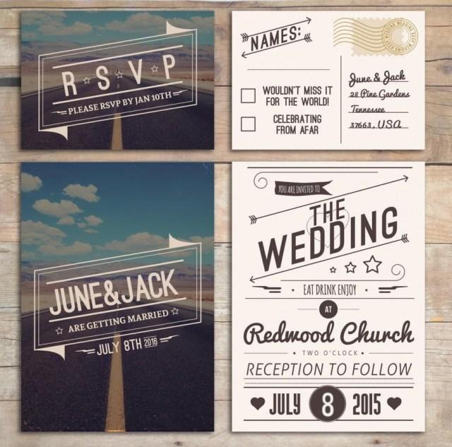American Wedding Invitations Retro Wedding Invitation Set American Design Rockabilly Style In