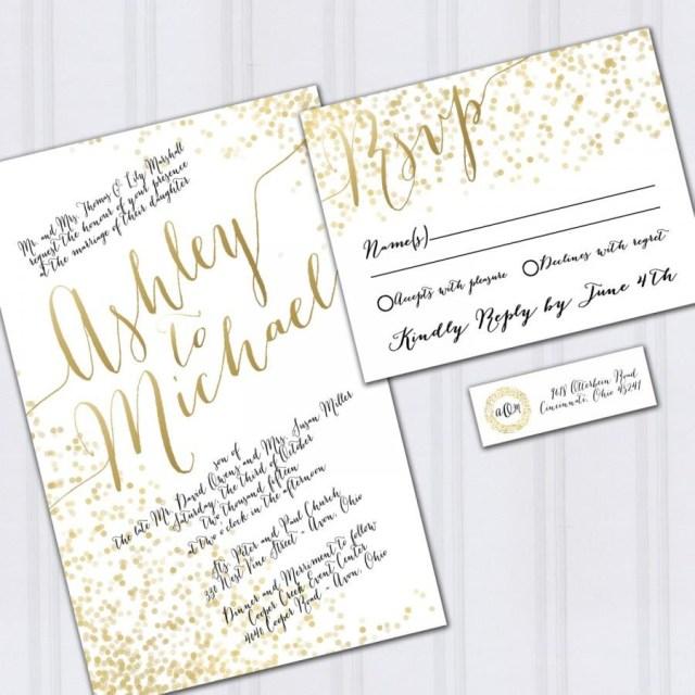 Backyard Wedding Invitation Wording Samples Gold Foil Look Wedding Invitations Confetti Invites Metallic Look