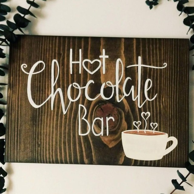 Bar Wedding Decor Hot Chocolate Bar Sign Hot Cocoa Bar Wedding Decor Handmade Sign