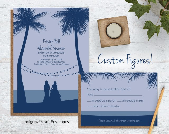 Beach Wedding Invites Beach Wedding Invitations With Custom Silhouettes Wild Blue Weddings