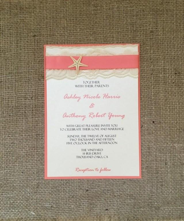 Beach Wedding Invites Coral Beach Wedding Invitation Destination Wedding Invitation