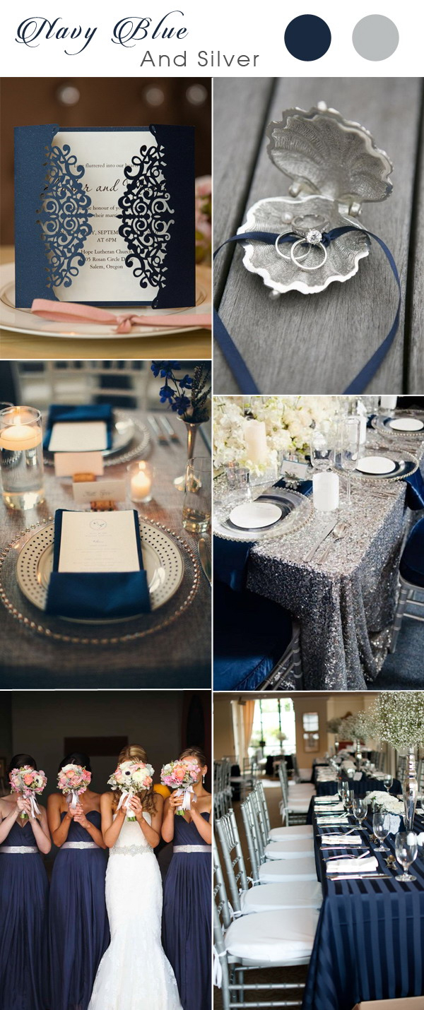 Blue And Silver Wedding Invitations Five Navy Blue Wedding Color Combos For 2017 With Matched Wedding