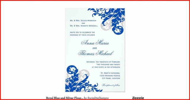 Blue And Silver Wedding Invitations Rectangle Royal Blue Silver Floral Joined Hearts Simple Royal Blue