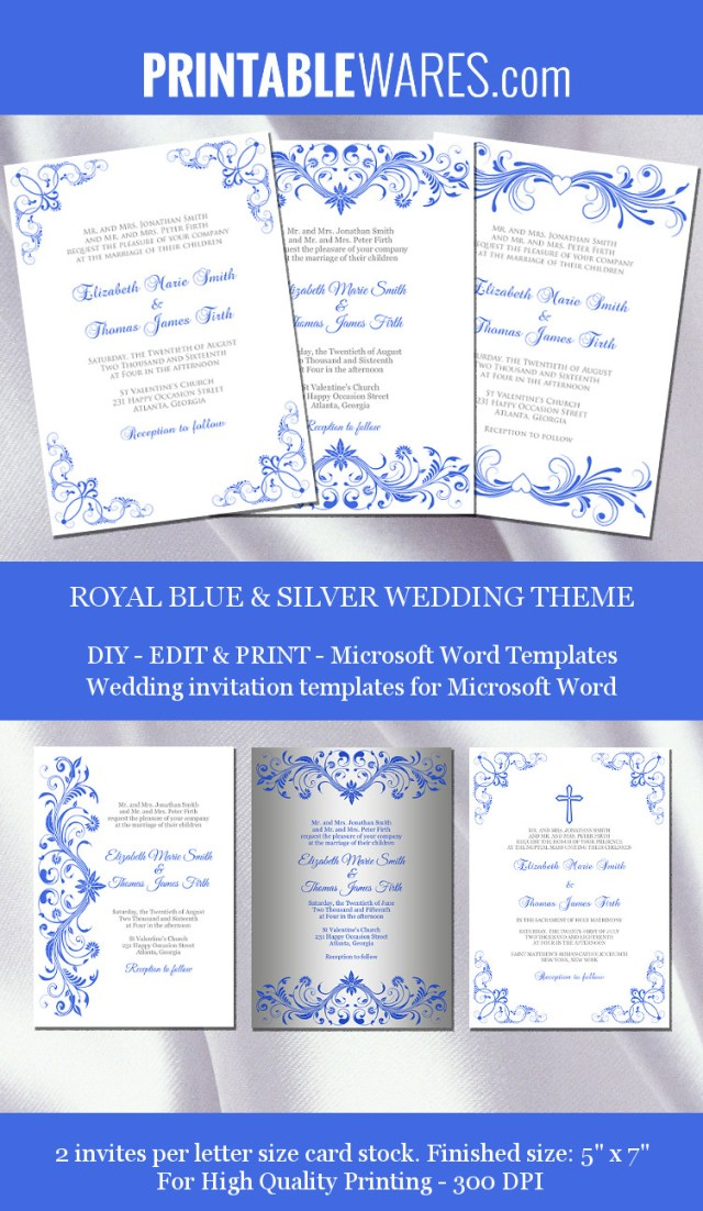Blue And Silver Wedding Invitations Royal Blue Silver Wedding Invitation Templates