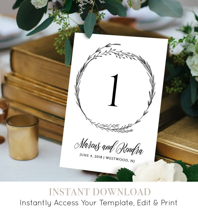Boho Wedding Decor Rustic Table Number Card Instant Download Editable Template