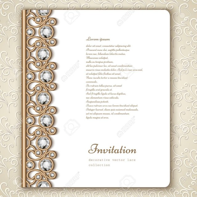 Book Wedding Invitations Book Cover With Jewelry Gold Border Ornament Vintage Wedding