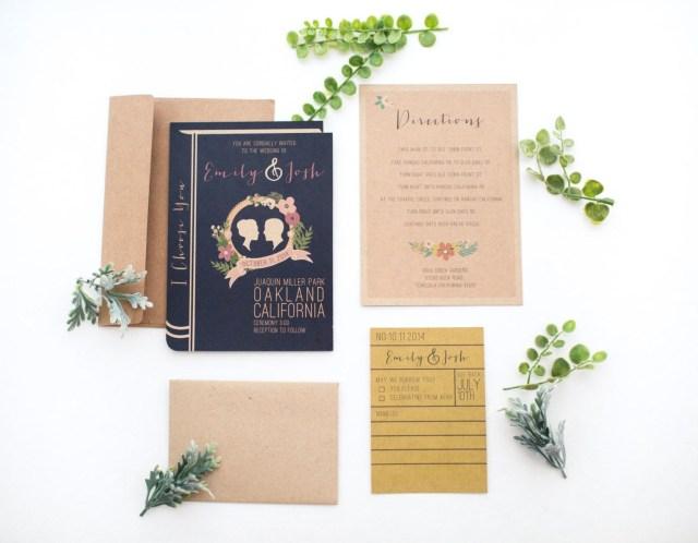 Book Wedding Invitations Library Book Wedding Invitation Set Yesdearstudio On Etsy
