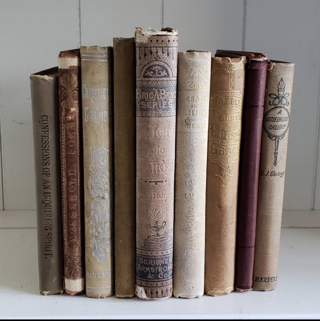 Books Wedding Decor Lot Of 9 Small Antique Victorian Books Tan Beige Neutral Colors