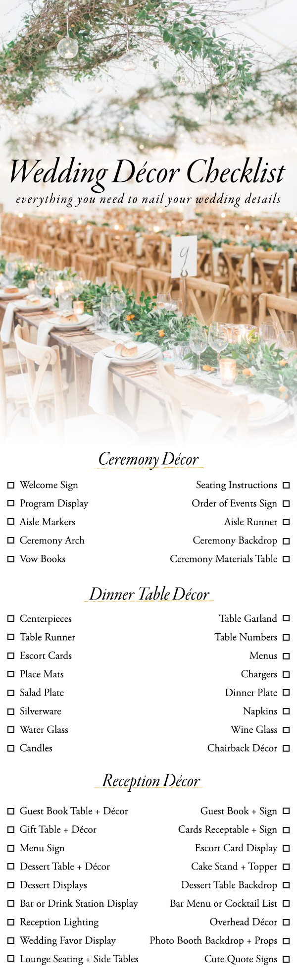 Books Wedding Decor Use This Wedding Dcor Checklist To Help You Nail Every Detail