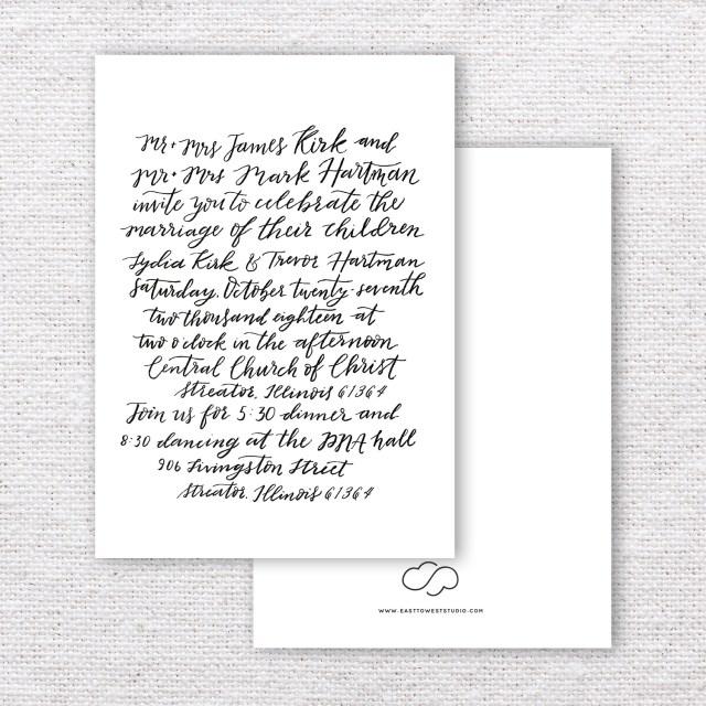 Calligraphy Wedding Invitations Custom Calligraphy Wedding Invitations