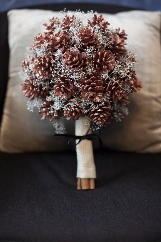 Christmas Wedding Ideas Christmas Wedding Ideas Pine Cone Wedding Bouquet Mid South Bride
