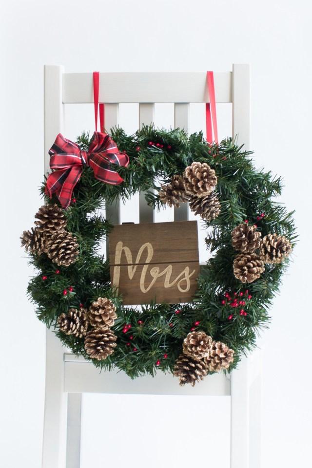 Christmas Wedding Ideas Winter Wedding Ideas A Christmas Wreath As A Chair Back Beau Coup Blog