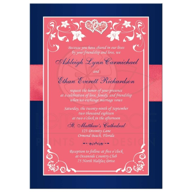 Coral And Grey Wedding Invitations Coral Colored Beach Wedding Invitations New Coral Pink And Navy