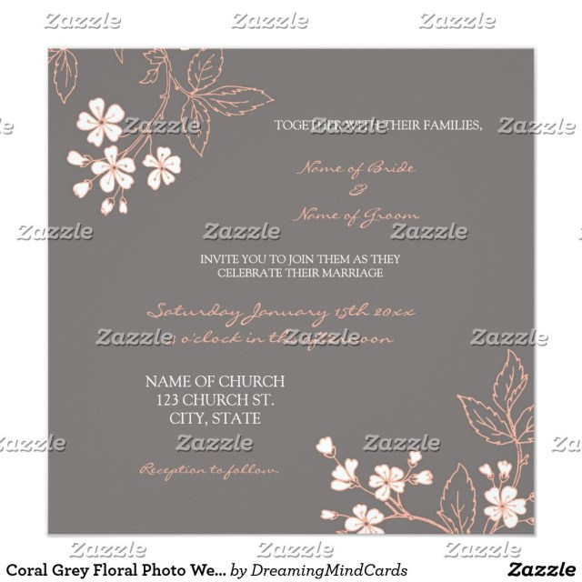 Coral And Grey Wedding Invitations Coral Grey Floral Photo Wedding Invitation Cards Pinterest
