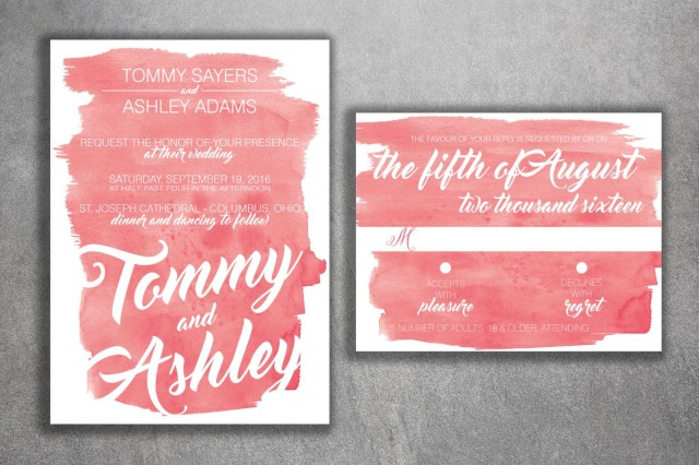 Coral And Grey Wedding Invitations Coral Watercolor Wedding Invitations Set Printed Cheap Wedding