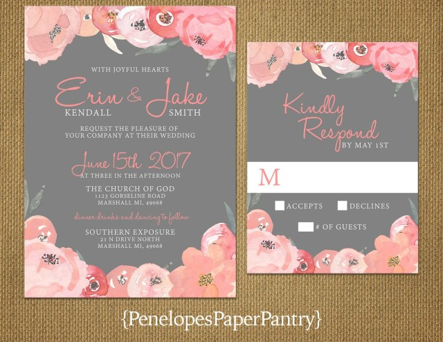 Coral And Grey Wedding Invitations Pin Heidi Fogle On Wedding Invitations Wedding Wedding