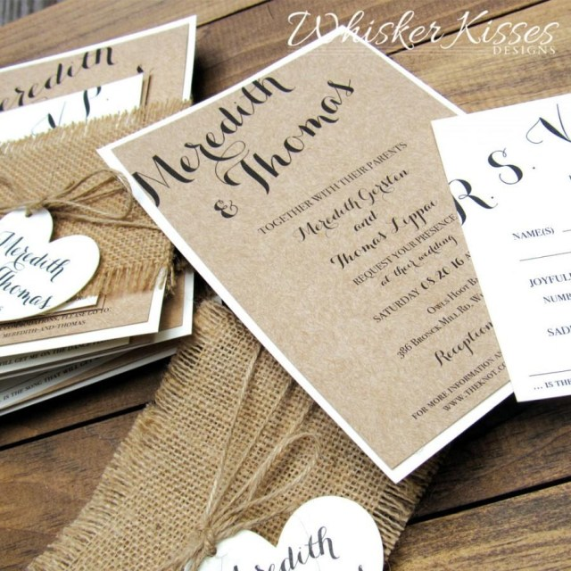 Country Rustic Wedding Invitations Rustic Wedding Invitation Burlap Twine Country Barn Kraft