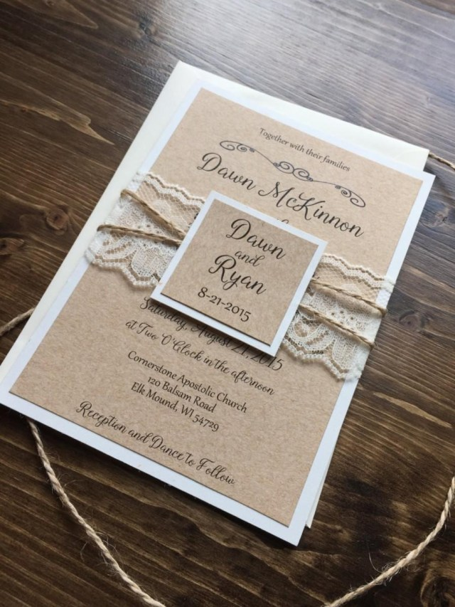 Country Rustic Wedding Invitations Rustic Wedding Invitation Vintage Wedding Invitation Lace Wedding