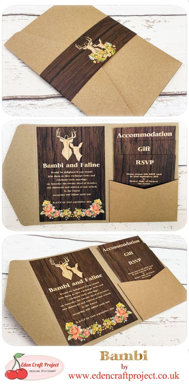 Country Wedding Invites The Disney Inspired Bambi Pocketfold Wedding Invitation Perfect For