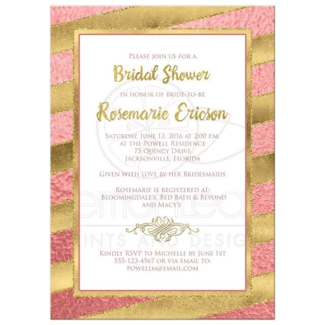 Couples Wedding Shower Invitations Best Rose Gold Foil And Gold Glitter Striped Bridal Shower Wedding