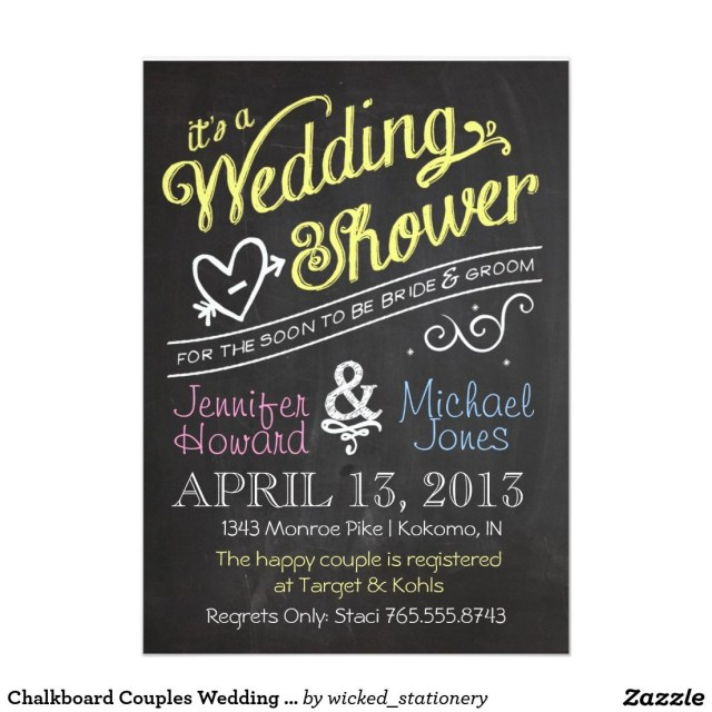 Couples Wedding Shower Invitations Chalkboard Couples Wedding Shower Invitation Chalkboard Bridal
