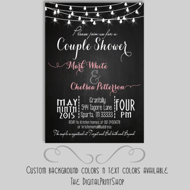 Couples Wedding Shower Invitations Rustic Chalkboard Couples Shower Bridal Shower Invite Chalkboard