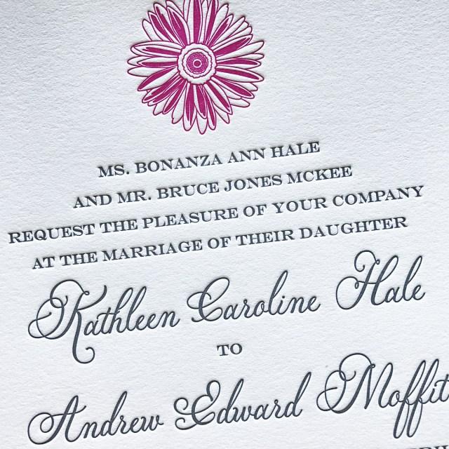 Daisy Wedding Invitations Custom Letterpress Invitations Affordable Letterpress Wedding