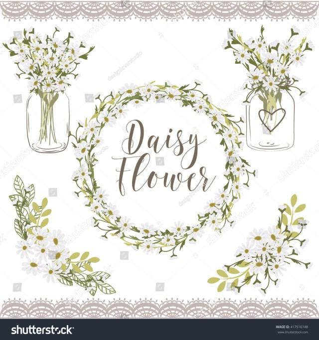 Daisy Wedding Invitations Daisy Flower Wedding Invitation Elements Stock Illustration