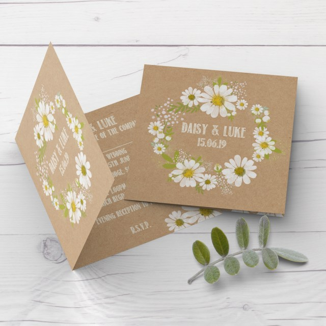 Daisy Wedding Invitations Daisy Wedding Invitation Rustic Kraft Design Customise With Your