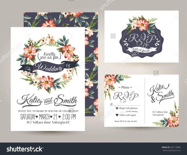 Daisy Wedding Invitations Wedding Invitation Card Suite With Daisy Flower Templates Stock